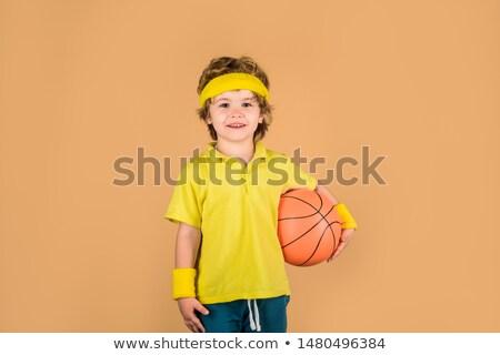 kosárlabdázó · fehér · fitnessz · háttér · sportok · labda - stock fotó © bluering