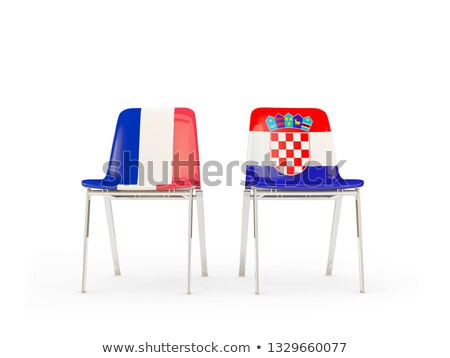 Two chairs with flags of France and croatia Stock photo © MikhailMishchenko