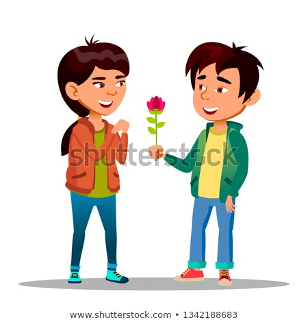 Chinese Boy Gives A Girl Red Peony As Symbol Of Love Vector Flat Cartoon Illustration Stock photo © pikepicture