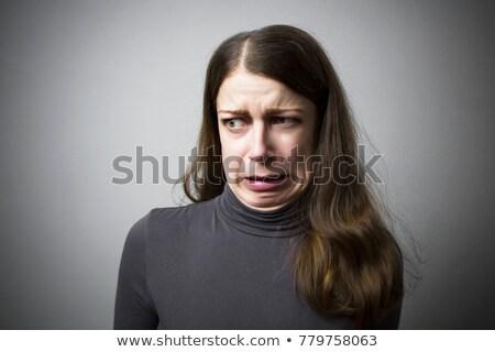 portret · vrouw · grijs · vrouwen · student - stockfoto © kurhan