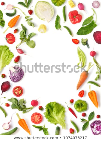 Organic vegetables pattern with broccoli in a frame and out of it on a light background. Stock photo © artjazz