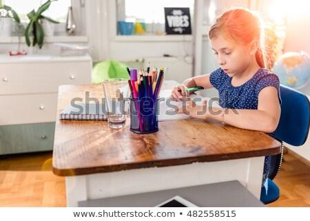Blauw kleding ingesteld meisje emoties Stockfoto © toyotoyo