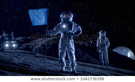 астронавт синий флаг иллюстрация работу Сток-фото © colematt