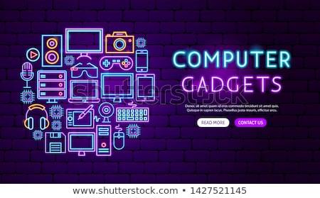 Computer Gadgets Neon Banner Design Stock photo © Anna_leni