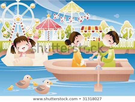 Water pretpark patroon splash familie leuk Stockfoto © netkov1