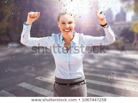 ビジネス女性 手 空気 通り 紙吹雪 ストックフォト © wavebreak_media