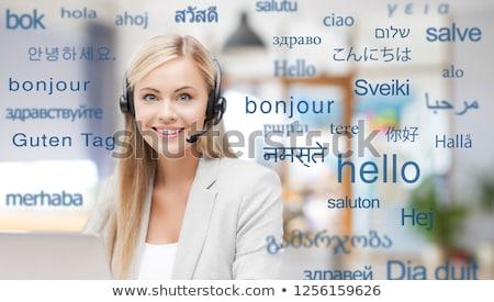 kobieta · zestawu · słowa · obcy · języki · tłumaczenie - zdjęcia stock © dolgachov