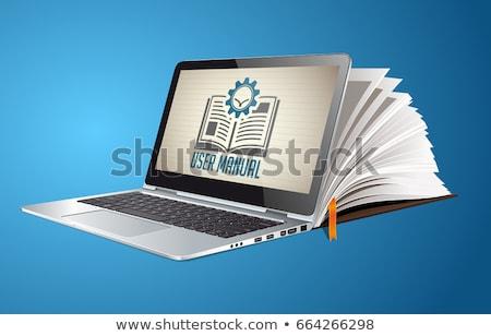 Utente guidare guardando informazioni tablet lente di ingrandimento Foto d'archivio © RAStudio