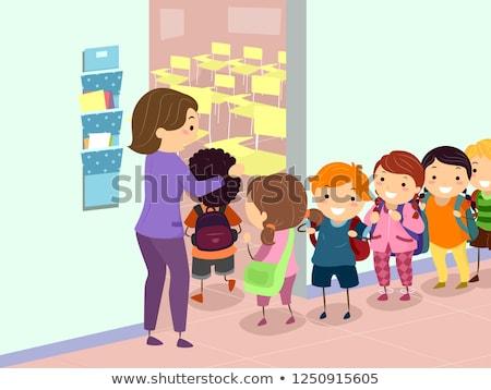 Stickman Kids Line Entering Classroom Illustration Stock photo © lenm