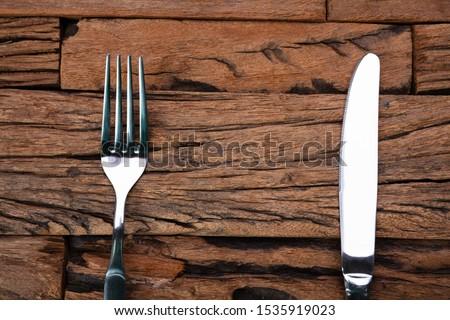Foto d'archivio: Forcella · coltello · tavolo · in · legno · piatto · veloce