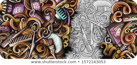 Peluquería dibujado a mano garabato banner Cartoon detallado Foto stock © balabolka