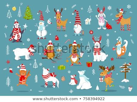 Weihnachten Feiertage Kaninchen Fuchs Kiefer cute animals Stock foto © robuart