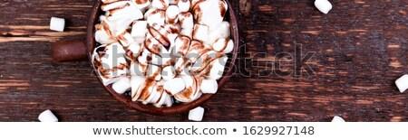 Afiş çikolata hatmi kahverengi fincan ahşap Stok fotoğraf © Illia