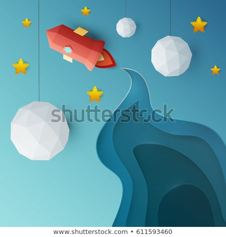Background design with spaceship flying in the sky Stock photo © bluering