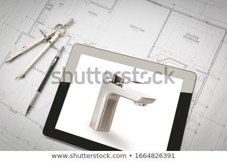 Computer Tablet Showing Custom Faucet On House Plans, Pencil, Co Stock photo © feverpitch