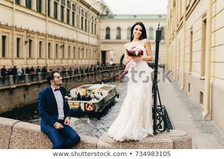 Cute прелестный невеста долго темные волосы подвенечное платье Сток-фото © vkstudio