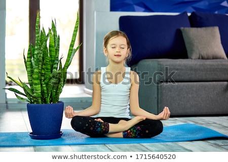 Happy little girl in lotus pose sitting on blue mat at home, having fun. Stock photo © Illia