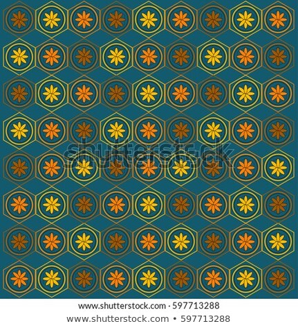 Vector Seamless Pattern. Repeating Lattice Abstract Background. Linear Grid From Striped Hexagonal E Stock photo © samolevsky