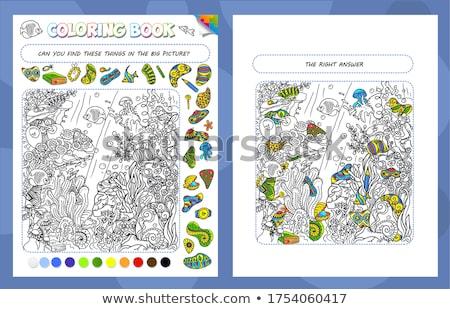 Coloring book game sea bottom Stock photo © Olena