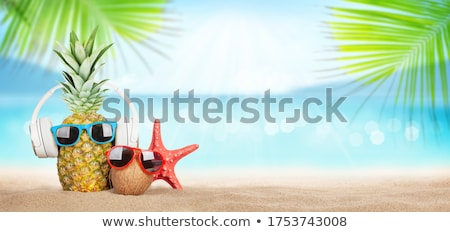 Pineapple and coconut with sunglasses and headphones Stock photo © karandaev
