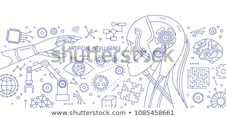 Robot Microchip Vector Outline Illustration Stock photo © pikepicture