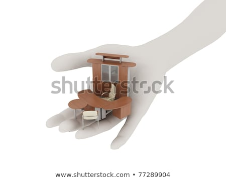Office furniture in his outstretched palm Stock photo © anyunoff