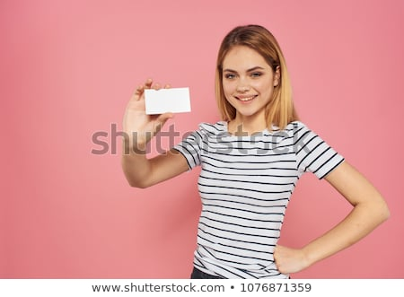 Showing a visiting card Stock photo © milsiart