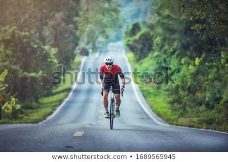 Bicicleta estrada assinar bicicleta rio caminho Foto stock © Sarkao