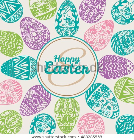 Happy Easter and striped beige egg with flowers Stock photo © marinini