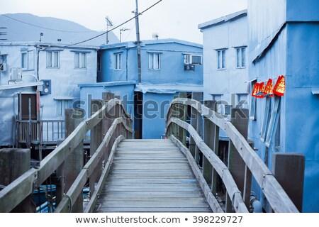 Vissen dorp houten huizen water business Stockfoto © kawing921