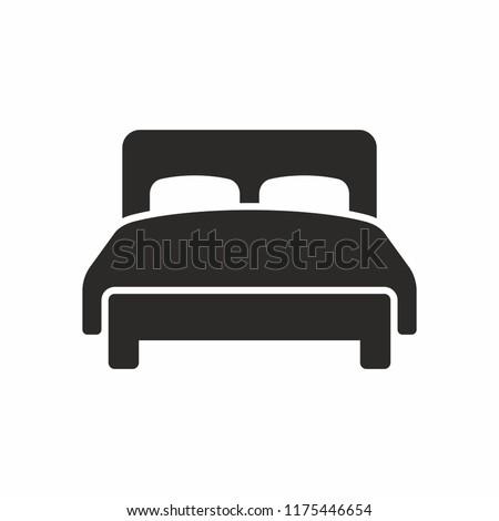 Vektor ikon ágy bútor Stock fotó © zzve