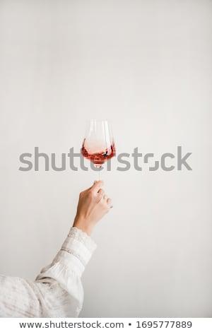 ピンクのバラ ガラス 白ワイン 花 静物 花 ストックフォト © DonLand