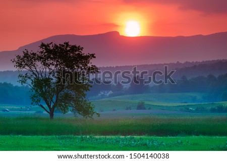 Sunset over Mt. Mansfield in Stowe Vermont Stock photo © DonLand