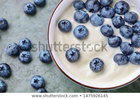 mirtillo · yogurt · ciotola · dessert · decorato · mirtilli - foto d'archivio © m-studio