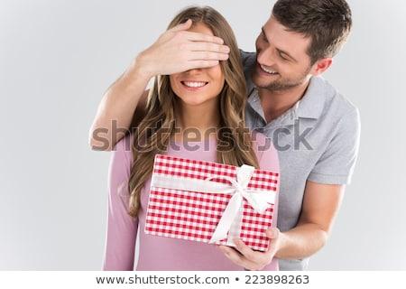Vrouw man permanente schouder leder kleding Stockfoto © feedough