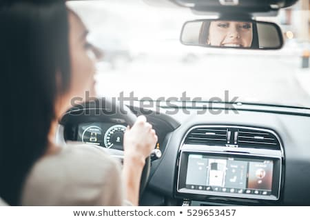 Binnenkant bewegende auto weg bos Stockfoto © fotoaloja