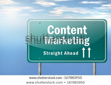 Сток-фото: Content Marketing On Highway Signpost