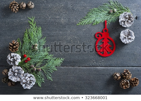 Christmas decoration on textile background top view Stock photo © HASLOO