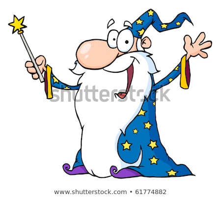 Comic Cartoon Magic Wand Casting Spell Stok fotoğraf © HitToon