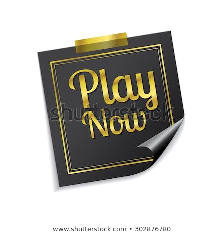 Spelen nu gouden sticky notes vector icon Stockfoto © rizwanali3d