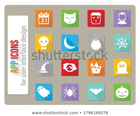 Flat design full moon and bats icon with long shadow Stock photo © Elsyann