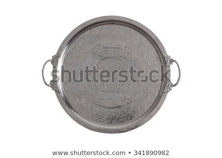 Embossed round silver coffee tray Stock photo © ozgur