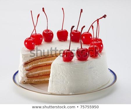 Stok fotoğraf: Kek · kiraz · dizayn · doğum · günü · düğün · pastası · dilim