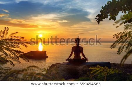 derűs · meditáció · meditál · nő · tengerpart · mosolyog - stock fotó © -baks-