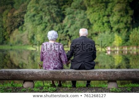Romantische echtpaar vergadering strand zonsondergang man Stockfoto © deandrobot