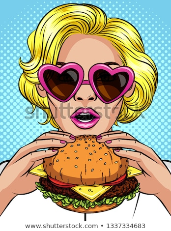 Woman eating hamburger vector illustration. Stock photo © RAStudio