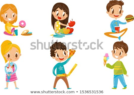 Girl and different kinds of fastfood Stock photo © bluering