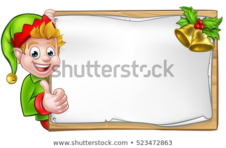 Christmas elf ilustracja tle podpisania Zdjęcia stock © bluering