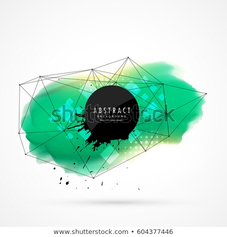 turquoise watercolor stain design with network wire mesh Stock photo © SArts