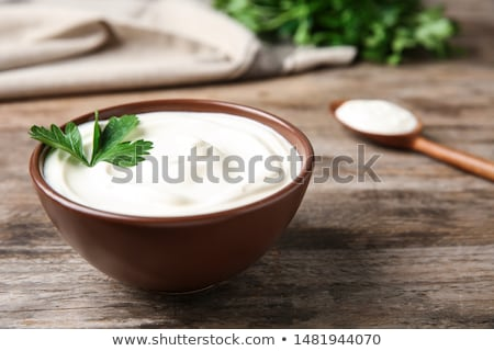 Friss tejföl tál étel fehér krém Stock fotó © Digifoodstock